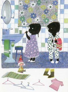 Jip en Janneke brushing teeth illustration by Fiep Westendorp