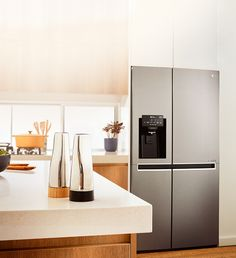 Discover the range of LG refrigerators that come in a variety of colours, sizes & styles to match any kitchen decor. Find your perfect fridge today. Lg French Door Refrigerator, Side By Side Refrigerator, Clean Fridge, Kitchen Cabinets, Kitchen Appliances, Wine Fridge, Flat Design, Kitchen Decor, Decks