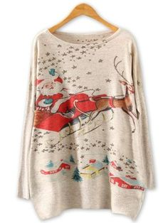 Shop Beige Bat Sleeve Santa Claus And Reindeer Knitted Sweater from choies.com .Free shipping Worldwide.$17.99