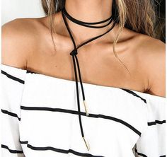 Black Choker Necklace Long Leather Necklace Women by OhLalaStore
