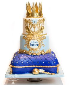 Fit for a Prince! by Lady K's Bake Shop Prince Birthday Theme, Baby Boy 1st Birthday Party, First Birthday Cakes, Royalty Baby Shower Theme, Prince Cake, Royal Prince, Bolo Mickey, Fondant Cake Designs, Baby Shower Cake Pops