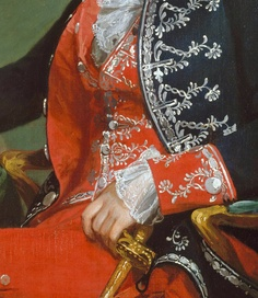 Frockcoat, waistcoat and silver embroidery detail from portrait of Josef de Jaudenes y Nebot, 1794. [note red silk facing and cuff of frockcoat matches waistcoat and breeches]. (c) Metropolitan Museum of Art