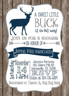 Rustic Deer Baby Shower Invite Antler By PartiesbyPam
