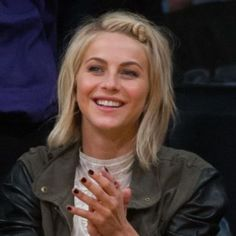 Julianne Hough showed off a twisted hairstyle with a little bun in her short hair when she went to an NBA basketball game between the Sacramento Kings and the Los Angeles Lakers at Staples Center on 17 March 2013 in Los Angeles, California.
