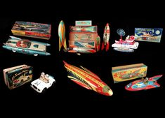 Mark Bergin Toys has vintage futuristic tin lithographed Space Vehicles (Rocket Ships, Satellites, Flying Saucers, Tanks and more).