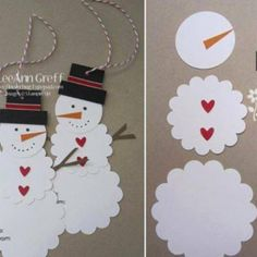 These cute DIY snowman gift tags will be the perfect finishing touch for all of your holiday presents. Diy Snowman Gifts, Snowman Crafts, Holiday Crafts, Diy Christmas Tags, Christmas Decorations, Christmas Ornaments, Snowman Ornaments, Christmas Countdown, Christmas Trees