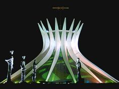 Catedral Metropolitana de Nossa Senhora Aparecida, Brasília - Oscar Niemeyer (1970) - The forecourt contains sculptures of the Four Evangelists: Matthew, Mark, Luke & John.