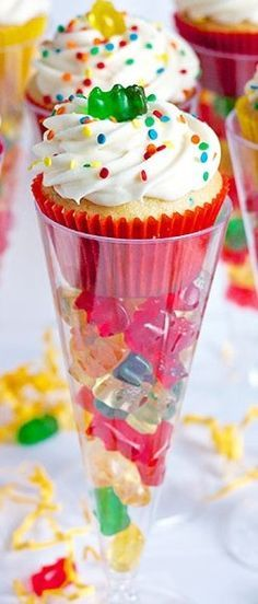 How To Make Boozy Gummy Bear Cupcakes ~ So yummy... Be creative: Change up the cupcakes, frosting, decorations, even the type of candy if your skipping the vodka altogether