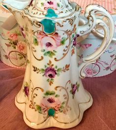 Pretty in Pink-Stunning Unmarked Nippon Chocolate Pot