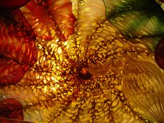 Works of art blown by Dale Chihuly on display in Oklahoma City art museum.