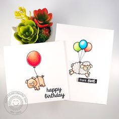 Sunny Studio Stamps: Missing Ewe and Barnyard Buddies CAS Balloon Themed Cards by Amy Yang