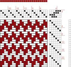 Hand Weaving Draft: 4 schäftig mit 6 Karten 16, Lehr-Methode der Weberei, Ferdinand A. Langewald, 4S, 6T - Handweaving.net Hand Weaving and ...