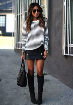 Leather skirts with stripes