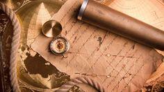 Скачать обои компас, рукопись, канат, карта, раздел разное в разрешении 1600x900