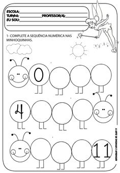 Atividade pronta - Sequência numérica Kindergarten Math Worksheets, Preschool Learning Activities, Kindergarten Reading, Worksheets For Kids, Book Activities, Alphabet For Kids, Alphabet Book, Learning Numbers, Writing Numbers