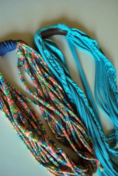 t-shirt scarves...love the turquoise
