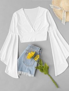 SheIn offers Fluted Sleeve Surplice Tee & more to fit your fashionable needs. Source by rophotodesignllc outfits verano Girls Fashion Clothes, Teen Fashion Outfits, Mode Outfits, Cute Fashion, Look Fashion, Outfits For Teens, Girl Fashion, Fashion Dresses, Cute Girl Outfits