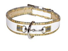 Poochberry Tapered Dog Collar  Tabbed Extra Large Size 1722 White with Checkered Trim ** Details can be found by clicking on the affiliate link Amazon.com.
