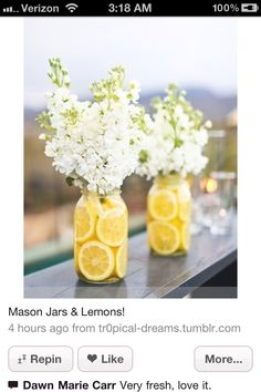 Center pieces for baby shower. Could use limes for boy theme.