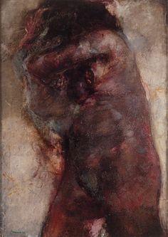RENZO VESPIGNANI (1924-2001), NUDO IN BRUNO, 1961, Olio su tela, 100x70 cm