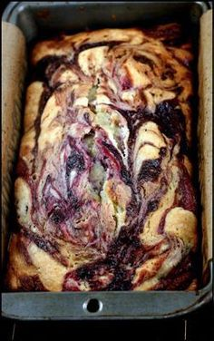 Double Berry Swirl Greek Yogurt Cake - Incredibly moist, with ribbons of blackberry and raspberry puree!