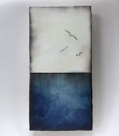 """Sea and Sky""series 6x12 encaustic artwork .....these blue hues really have a hold on me lately. Most likely influenced by the blues I've been surrounded by.The night sky and the ocean have a deeper blue to them this time of year.  #encausticartwork#painting#gallery#sea#ocean#seagulls#inspiredbynature#seascape#abstract#birdsinart#alannasparanese #victoriabcartist#studiowork#calmedbythesea#oceanlove#beeswax"