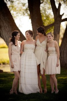 cream colored Bridesmaids dresses by http://www.aliceandolivia.com/ and others  Photography by erinkatephoto.com