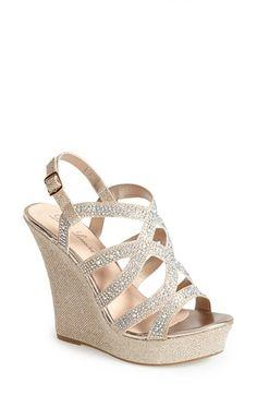 Women Silver Ankle Strap Crystal Wedge Med Low Heel Pump Wedding Bridal Shoe 9