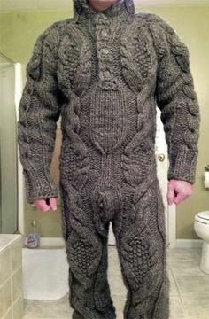 Adult Knit Onesies - crazy fashion sense, but I bet it keeps you warm in the winter! I wonder if it comes in Hi-Viz green with reflectors?
