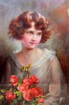 Young Woman With Roses- Zula Kenyon (1873 - 1947)