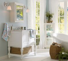 Newport Single Sink Console - Pottery Barn (Splish-Splash...I Was Takin' A Bath Bathroom furniture Wood Classic White Marble Bath)