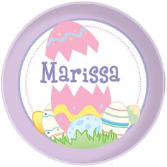 Personalized melamine Easter plate for girls