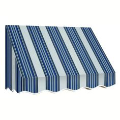 AWNTECH 7 ft. San Francisco Window Awning (31 in. H x 24 in. D) in Navy/Gray/White Stripe, Blue