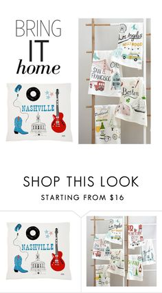 """""""Bring It Home: Claudia Pearson City Tea Towels"""" by polyvore-editorial ❤ liked on Polyvore featuring interior, interiors, interior design, home, home decor, interior decorating, Claudia Pearson and bringithome"""