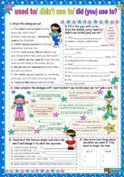 English worksheet: Used To / didn´t use to/ Did (you) use to?  for Upper Elementary/ Lower Intermediate students