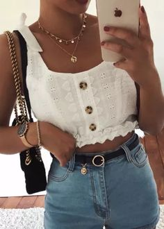 Frill Hem Self-Tie Straps Embroidered Top in White - Trendy Look Book - Preppy Summer Outfits, Best Casual Outfits, Edgy Outfits, Grunge Outfits, Simple Outfits, Classy Outfits, Spring Outfits, Cute Outfits, Fashion Outfits
