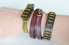 "Leather Bracelets for the Jewelry Novice: DIY jewelry tutorial, posted by Amy Renea on ""Crafts Unleashed""."