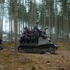 A handful of Finnish soldiers hitch a ride on a Universal Carrier in Nuijamaa, Finland, August For those having trouble recognizing the carrier, it's a Russian Komsomolets artillery tractor. During the war, Finland commandeered a few. Ww2 History, Military History, Ww2 Photos, Ardennes, Ww2 Tanks, German Army, World War Two, Military Vehicles, Wwii