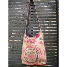 Jute Bag - Himalaya - Green/Pink Jute Bags, Hand Stitching, Women's Accessories, Reusable Tote Bags, Green, Pink, Cotton, Shopping, Fashion
