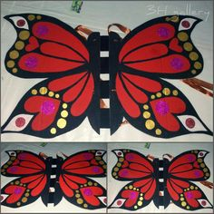 Butterfly costume for a kid. made with recycled cardboard.