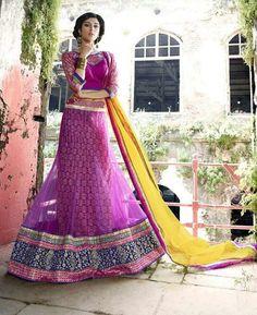 Buy Ravishing Pink & Yellow Lehenga Choli online at  https://www.a1designerwear.com/ravishing-pink-yellow-lehenga-choli  Price: $51.21 USD