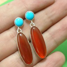 Turquoise and Carnelian Sterling Earrings- Free Shipping. $58.00, via Etsy.