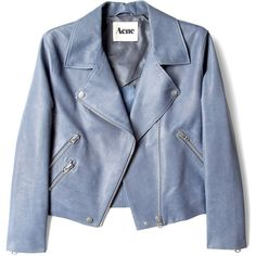 Acne Rita Lightweight Leather Jacket ($1,200) ❤ liked on Polyvore featuring outerwear, jackets, coats & jackets, tops, women, motorcycle jackets, leather motorcycle jacket, moto jacket, lightweight leather jacket and blue moto jacket