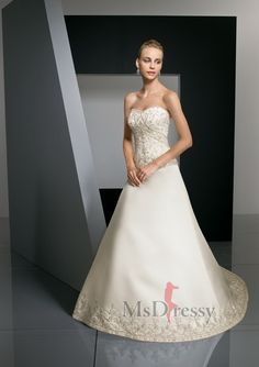 A-line Sweetheart Court Train Satin Wedding Dress with Embroidery and Beading