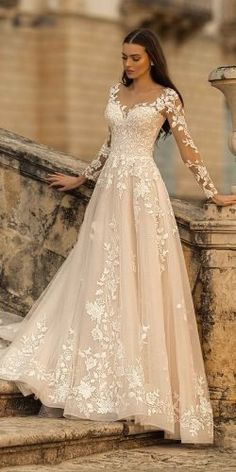 36 Lace Wedding Dresses That You Will Absolutely Love lace wedding dresses a line with illusion long sleeves lussano Long Wedding Dresses, Bridal Dresses, Wedding Dress Lace, Weeding Dresses, Princess Wedding Dresses, Wedding Dress Styles, Illusion Wedding Dresses, Wedding Dress Designers, Disney Inspired Wedding Dresses