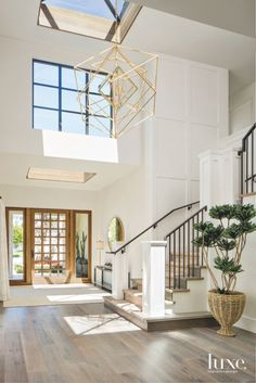Farrow and Ball All White Foyer Two story foyer with skylight and grid board and. - interior design creative Farrow and Ball All White Foyer Two story foyer with skylight and grid board and… - Home Decoraiton Style At Home, Interior Design Minimalist, Two Story Foyer, California Homes, California Decor, Minimalist Living, House Goals, Home Fashion, My Dream Home