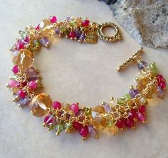 Colorful cluster bracelet with Watermelon Tourmaline and keshi pearls, fresh water pearls, Gold filled. Handmade Bracelets, Handmade Jewelry, Personalized Jewelry, Vintage Jewelry, Beaded Jewelry, Beaded Bracelets, Opal Jewelry, Jewellery, Pink Agate