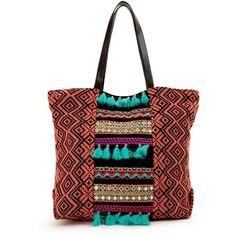 V By Very Pom Pom &Amp; Tassel Detail Beach Bag