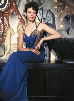 Gene Tierney , Beautiful gown and lady.