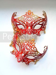 Red Dragon Mask (1 Mask) Firey Red Two tone gold Lace Painted Filigree Pattern Venetian Mask base - Masquerade ball costume or elven wedding